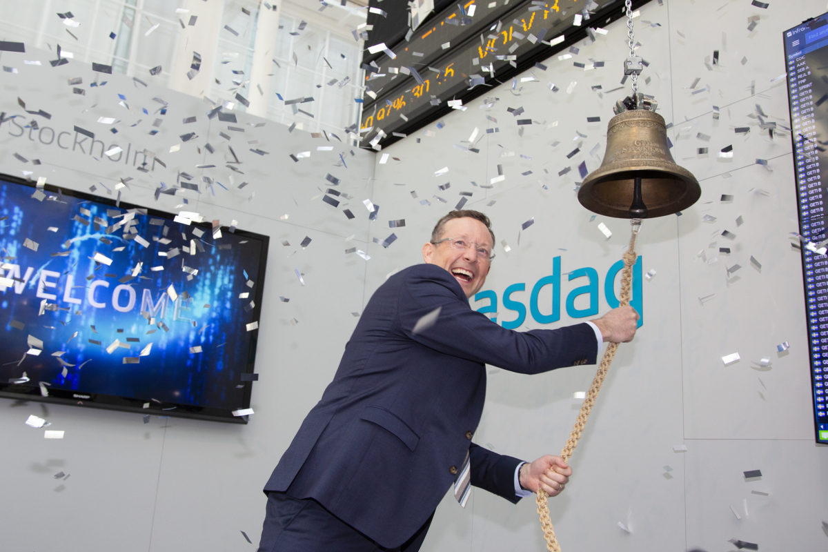 Tony Andersson ringer in Infreas aktie på Nasdaq.